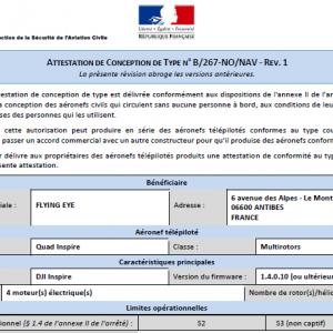 certificat homologation drone