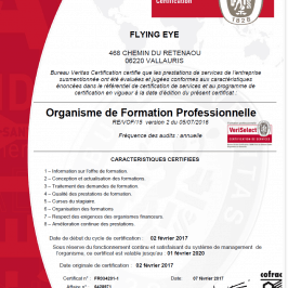 Certification VeriSelect pour le Centre de formation Flying Eye